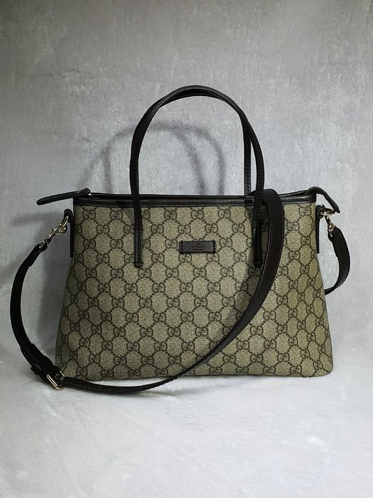 *旺角名店* Gucci 353440 咖啡色 PVC 小款 拉鍊 兩用 肩背 斜背 購物 家徽 兩用包