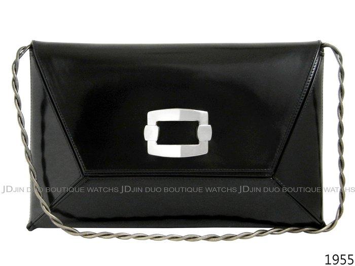 金鐸精品~1955 STUART WEITZMAN SW 黑色滑面牛皮 手拿包 肩背包 晚宴包