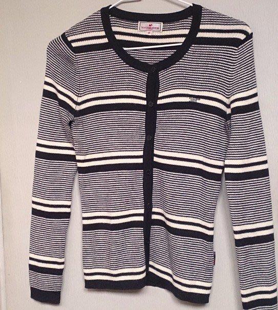 專櫃品牌【 SCOTTISH HOUSE】 黑白條紋羊毛針織毛衣開衫 100%羊毛 S號