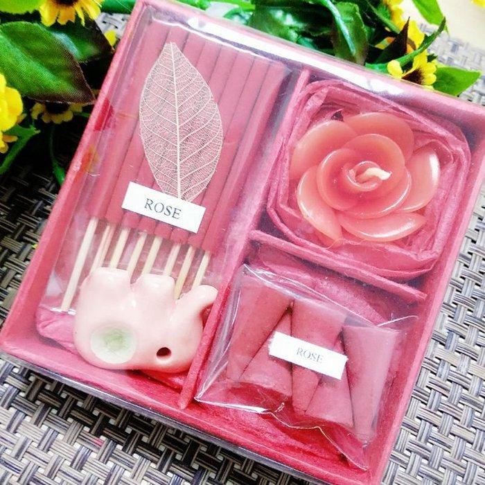 「還願佛牌」泰國 塔香 + 線香 + 花蠟燭 + 小象 香盤 香薰禮盒 A