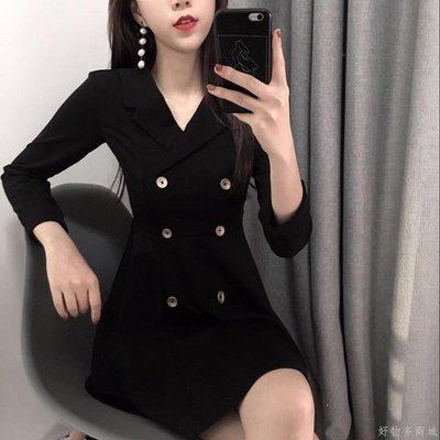 好物多商城 秋冬季新款小黑裙收腰裙子修身V領雙排扣氣質長袖連衣裙女裝