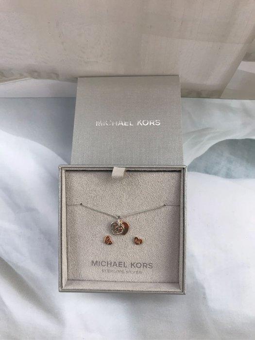 MICHAEL KORS 迷你logo耳針+手鍊組純銀系列組合 全配-高級迷你雙層珠寶袋,絨布禮盒,保證書~