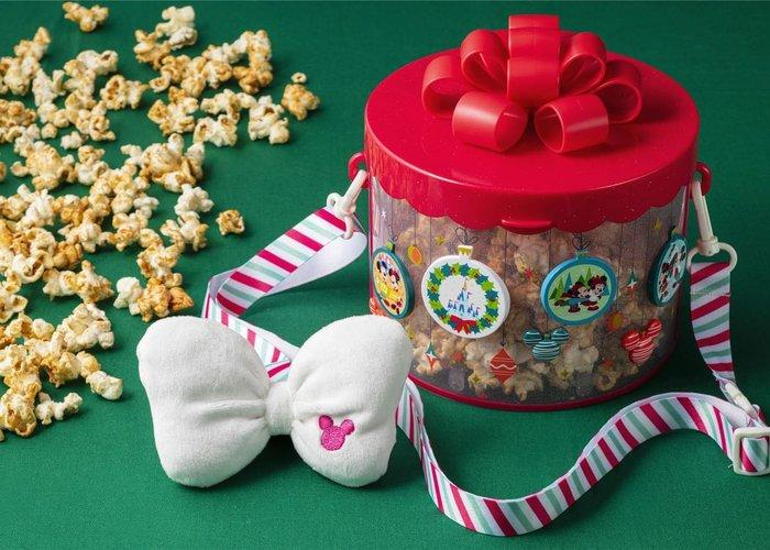 ☆Juicy☆日本 海洋迪士尼 DISNEY 聖誕節 米奇 禮物盒 蝴蝶結 爆米花桶 置物桶 收納桶 生日禮物 交換禮物