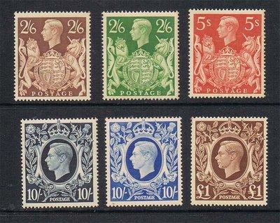 【雲品】英國Great Britain 1939 KGVI SG 476-478c or Sc 249-251A set of 6 MNH 庫號#65913