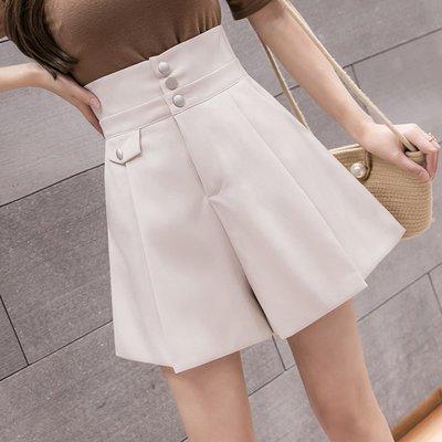 短褲 熱褲 流行女褲休閒a字 短褲 女夏寬松顯瘦時尚高腰闊腿褲子