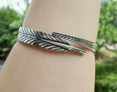 嗨,寶貝銀飾珠寶* 925純銀☆999純銀 泰銀復古工藝 個性 一片葉開口純銀手環 手鐲