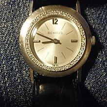 BENRUS 賓如士{正白k金}實14k 鑲鑽 手上鍊 古董珍藏錶 品相極美