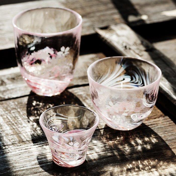 〖洋碼頭〗日本石塚硝子津輕手工玻璃杯桜流日式手工杯冷茶杯 L2246