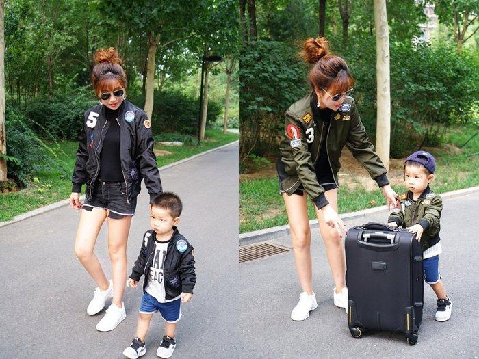 【小阿霏】成人款 親子外套 兒童帥氣刺繡飛行夾克 黑綠兩色 男童女童率性防風拉鍊外套 寬鬆大碼母子裝父子裝情侶裝FA32