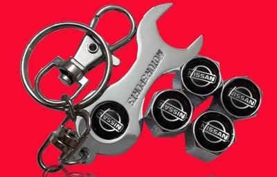 nissan 日產 專用 輪胎 氣嘴蓋(4顆裝)+造型鑰匙圈