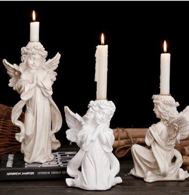 Angel歐美浪漫擺飾燭台 可愛小天使造型蠟燭台 禱告 少女的祈禱 女孩人像擺飾 復古造型燭檯 婚禮布置 家居民宿裝飾品