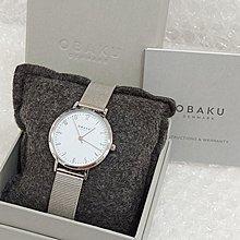 OBAKU丹麥時尚名牌/簡約風米蘭鋼帶手錶/純白面盤/數字刻度/科技銀/特價