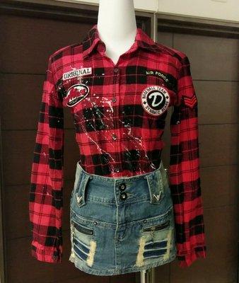 琳達購物中心-實品拍攝-正韓休閒拚色格紋扣長袖襯衫-買正韓衣送牛仔裙