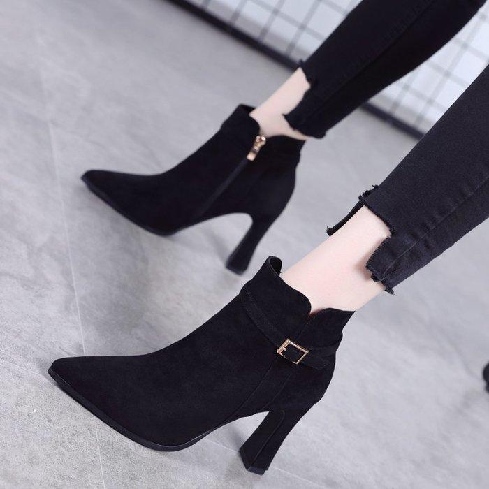 Fashion*高跟馬丁靴 時尚皮帶扣尖頭粗跟瘦瘦靴 秋冬新款短靴女裸靴34-39碼