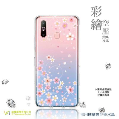 【WT 威騰國際】WT ® Samsung Galaxy A8s 施華洛世奇水晶 彩繪空壓殼 軟殼 -【戀櫻】