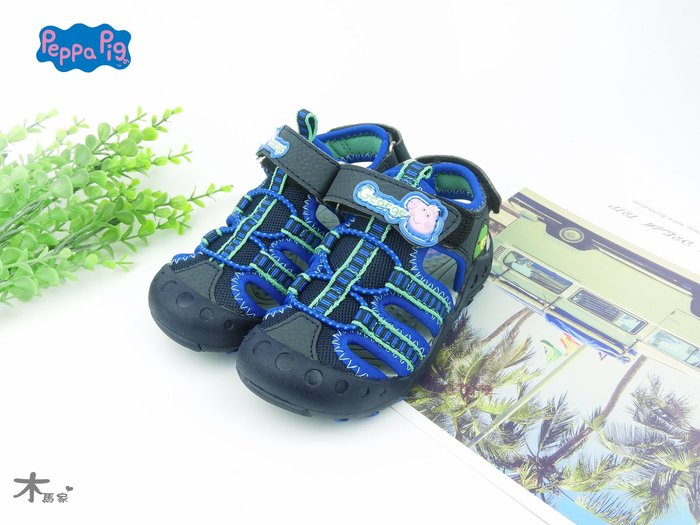 [木馬家](14~18公分)正版佩佩豬護指涼鞋(深藍色)