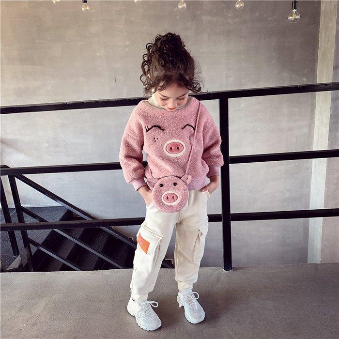 I ♥ MOM  2019新款# 女孩兒中大童韓國版時髦高領加厚可愛豬豬上衣+小包包   (預購)