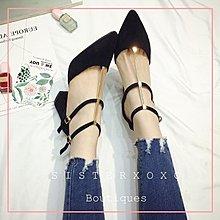Sis KOREA 簡約奢華 復古時髦 超穩高跟鞋 粗跟超好走 名媛風 韓國絨面設計 典雅性感一字扣尖頭設計感