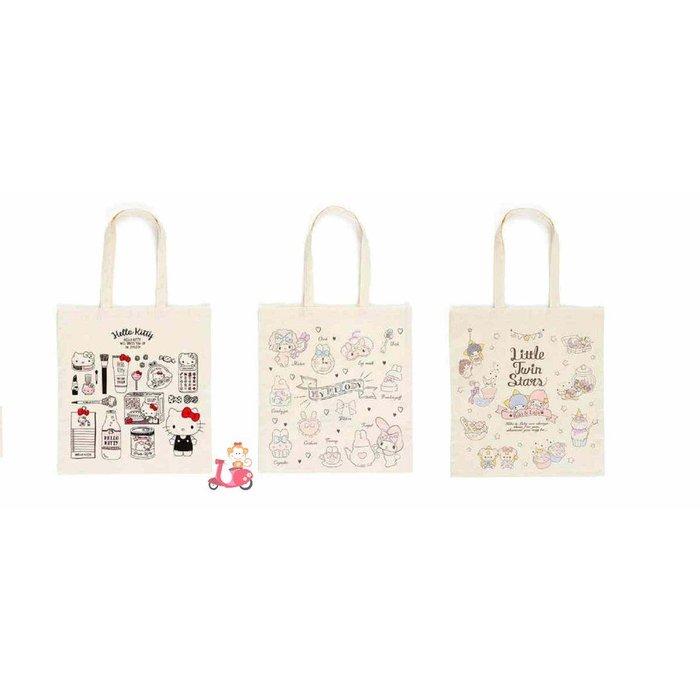 {阿猴達可達}日本限定空運款 三麗鷗 Hello Kitty 美樂蒂 雙子星 手繪版 手提袋 文青袋 文件袋 日本製