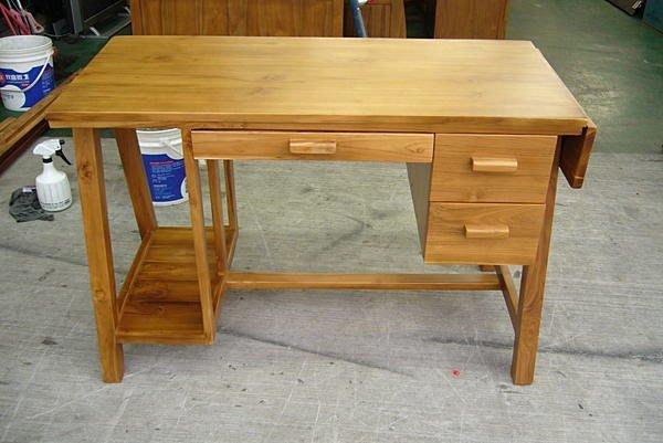 樂居二手家具 全新中古傢俱賣場 *P700全新原木柚木書桌* 電腦桌 辦公桌 實木主管桌椅 oa辦公桌椅 寫字桌