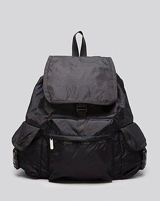 美國名牌Lesportsac 7839 全新真品黑色防水尼龍(大款)後背包~現貨在美~特價$3580含郵