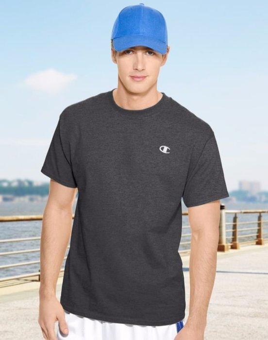 美國百分百【Champion】冠軍 T恤 短袖 T-shirt logo 素T 高磅數 排汗 快乾 鐵灰色 F465