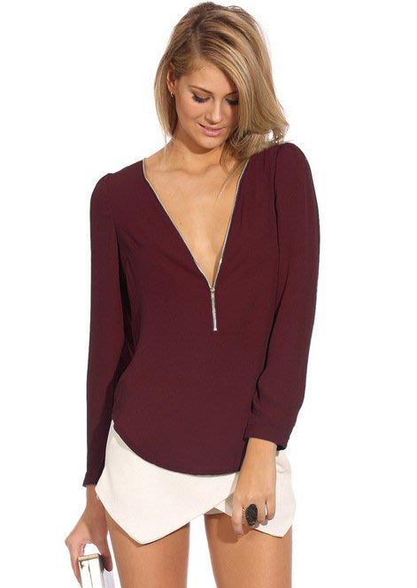 新款時尚女裝 雪紡透明襯衫是拉鍊低胸長袖襯衫上衣 6色 657153