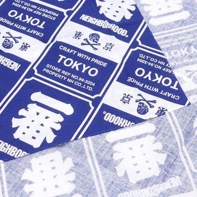 [現貨出清] Neighborhood  紀念物系列 一番 東京 限定 黑色 方巾 布 (尺寸91x35 CM)