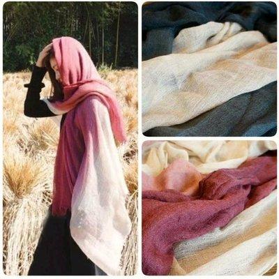 印度水煮羊毛 漸層 圍巾 披肩 薄款 冷氣房 防曬 80 x 180 cm
