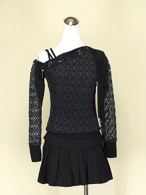 貞新 youths&maidens 黑色羅馬領長袖棉質上衣S號+way lee 黑色棉質百褶裙M號(61817)