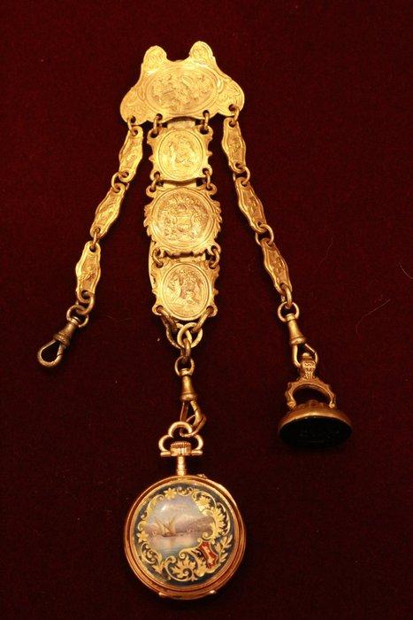 【家與收藏】特價極品珍藏歐洲百年古董名錶18世紀Constantine江詩丹頓琺瑯微型畫18K金純銀仕女珠寶懷錶/鍊錶