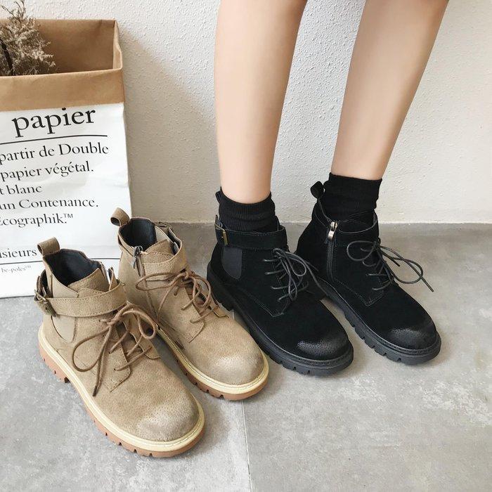 999短靴 靴子 馬丁靴 牛津靴  南在南方秋季新款馬丁靴女英倫風學生韓版百搭厚底靴子秋短靴