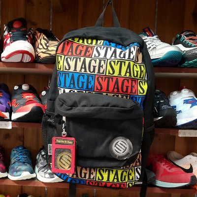 STAGE 後背包 背包 包包 黑色 紅色 彩色 授權經銷 雷射標籤 COLORFUL BAG
