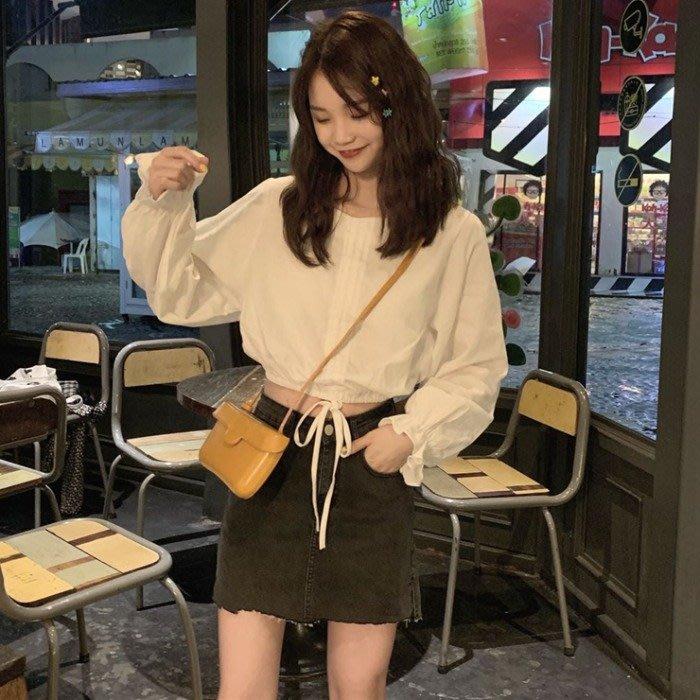 小香風 短袖T恤 時尚穿搭 韓版 寬松短款設計感抽繩收腰露臍木耳邊長袖襯衫女裝