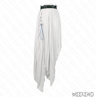 【WEEKEND】 UNRAVEL Pleated 百褶 不對稱 束帶 裙子 長裙 灰色 19春夏