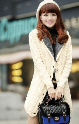 中長款加厚連帽加絨保暖毛衣外套(米白) J-11682
