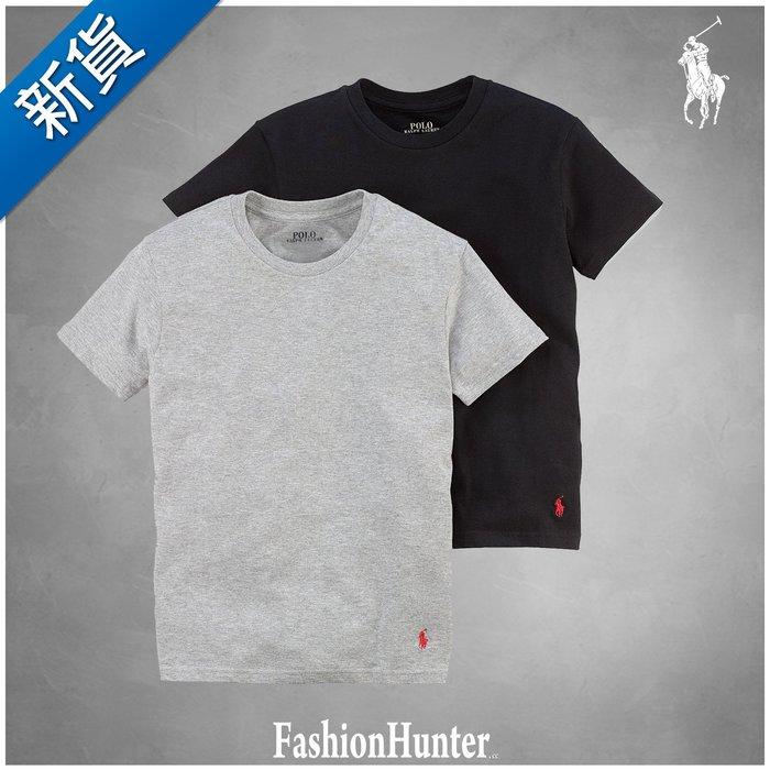 新貨【FH.cc】Polo Ralph Lauren 素t 圓領素面 短袖T恤 黑灰 衣腳刺繡小馬 男童款 超值兩件組