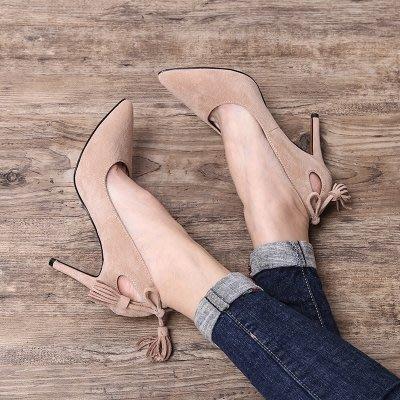 ☜男神閣☞小清新高跟鞋2018春季新款流蘇性感絨面淺口高跟鞋細跟女尖頭單鞋