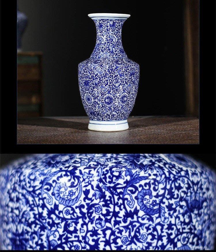 旦旦妙 景德鎮陶瓷花瓶擺件 青花瓷器工藝品 金鐘瓶 開心陶瓷526
