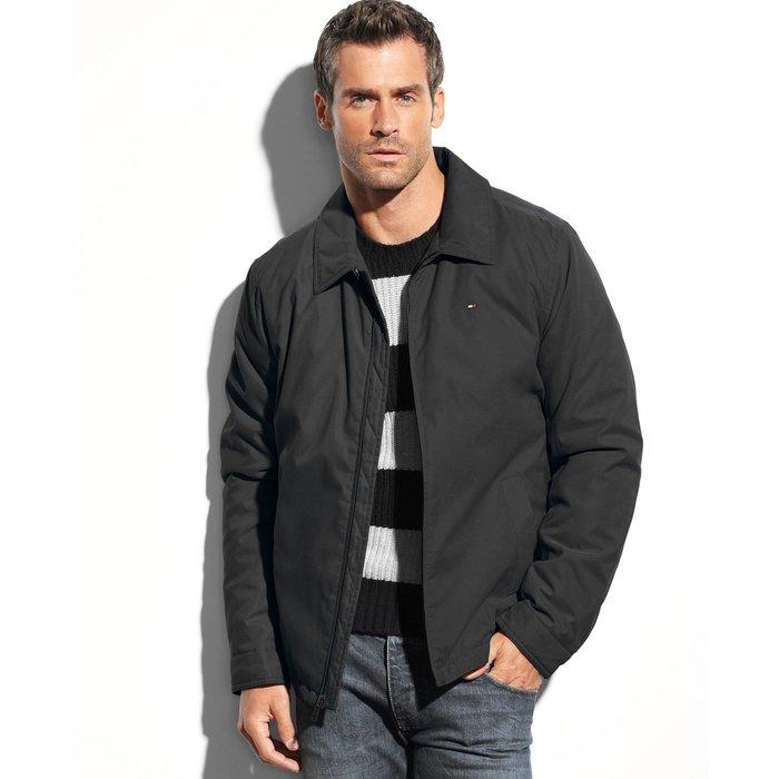 美國百分百【Tommy Hilfiger】外套 TH 夾克 軍外套 立領 風衣 防風 保暖 黑色 S M L號 H288