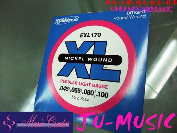 造韻樂器音響- JU-MUSIC - D'addario Daddario EXL170 電貝斯 電貝士 套弦 (45-100) 繞鎳處理 音色明亮