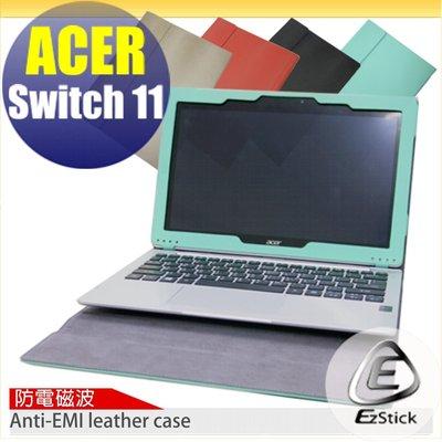 【EZstick】ACER Switch 11 SW5-171 防電磁波專用皮套 (筆記本款式)+防藍光鏡面貼 組合