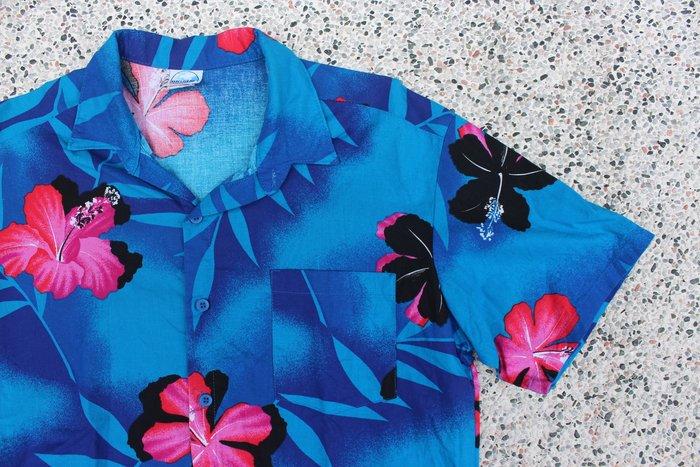 「蔣柒」Vintage 古著 BIGSUR 美國製 老品 藍底紅花 夏威夷襯衫 花襯衫  現貨 夏日 短袖襯衫 印花襯衫