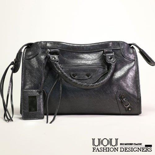 *UOU精品*韓國時尚款 好質感個性經典簡約流蘇側背包機車包(附斜背帶+鏡子)/K020