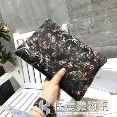 手拿包男士手包潮男韓版時尚大容量信封包圖案布個性男包