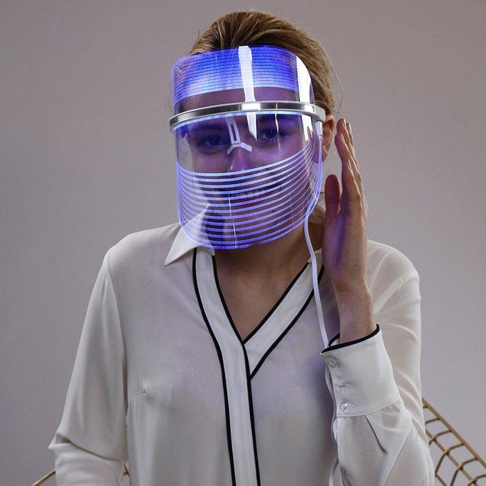 奈米光線嫩膚美容機 韓國美容小燈泡光子嫩膚彩光時光機護理美容面罩led面具光療神器護膚面罩 一機3效面膜