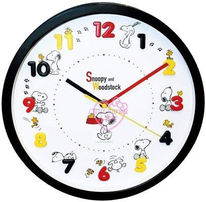 ♥小花花日本精品♥史奴比塔克腳印白底多種可愛造型連續秒針圓形花樣大數字時鐘掛鐘壁鐘~3