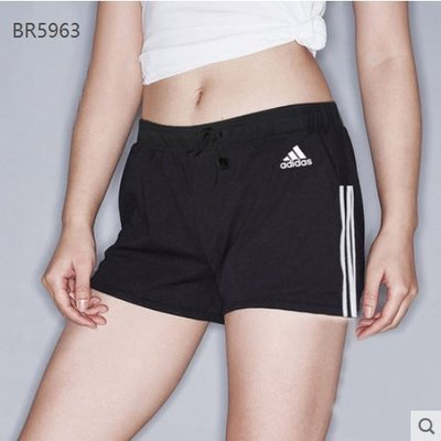 【MOMO精品】-Adidas 愛迪達   短褲 熱褲 黑色四角 針織 鬆緊側邊三線 BR5963
