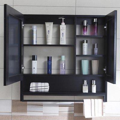『OUNI優品』現代免漆實木掛墻式儲物櫃衛生間收納鏡面櫃梳妝鏡子OU598-免運費