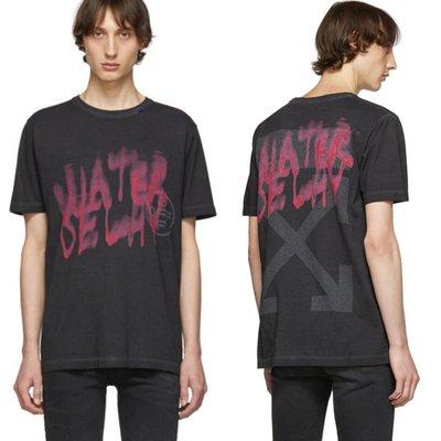 OFF-WHITE Water Delay紅字塗鴉作舊T恤 (XXL)